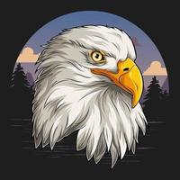 Eagle head with American flag pattern independence day veterans day 4th of July and memorial day vector