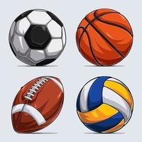 colección de balones deportivos, balones de baloncesto, balones de fútbol, balones de fútbol americano y balones de voleibol vector