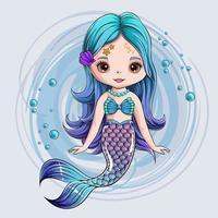 Hand drawn cute Mermaid character, smiling mermaid princess vector