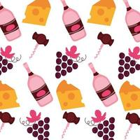 grapes with wine bottles and cheese pattern background vector
