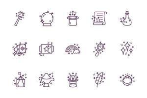 paquete de iconos de conjunto de hechicería mágica vector