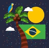 Canival de Rio celebración brasileña con bandera vector