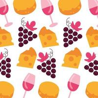 grapes with cups and cheeses pattern background vector