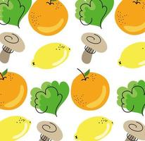 fruits and vegetables healthy food pattern vector