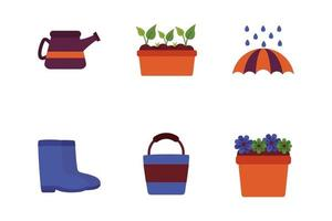 bundle of spring set flat icons vector