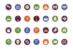 bundle of spring set block icons vector