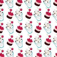 sweet cake with cherries and ice creams dessert pattern vector