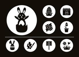 bundle of easter set line icons vector