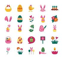 bundle of easter set flat icons vector