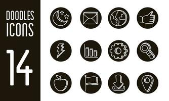 bundle of doodle set icons vector