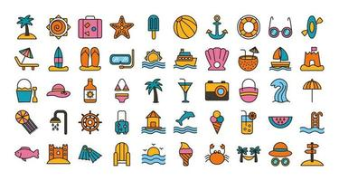 bundle of beach set line and fill icons vector