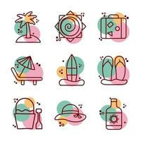 bundle of beach set line and color icons vector