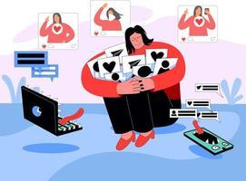 Social media addiction illustration concept vector