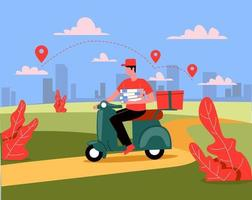 Delivery man riding motorbike with foods illustration concept vector