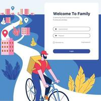 Repartidor con concepto de ilustración de bicicleta vector