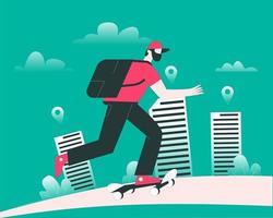 Delivery man on skate board illustration concept vector