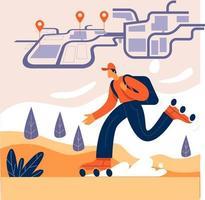 mensajero con paquete y siguiente concepto de ilustración de ubicación vector