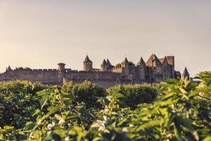 View of the medieval old town of Carcassonne in France photo