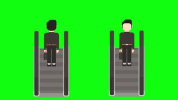 Automatic escalator moving up and down with person and without person animation footage with green screen background. video
