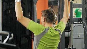 The overweight man exercises at the gym Fitness and Healthy lifestyle video