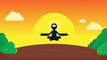 Mindful single person in Lotus Yoga pose flying in air. Animated video Clip in High resolution.