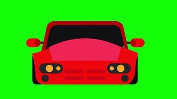 laufende rote Autoanimation mit grünem Hintergrund. video