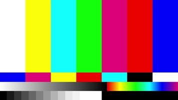 Television signal error. SMPTE color bars. Color Bars data glitches. Intentional glitch distortion. Test pattern from a tv transmission, with colorful bars. video