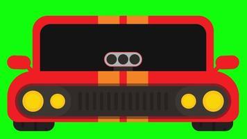 in esecuzione di animazione di auto sportive su sfondo verde. clip in alta risoluzione. video