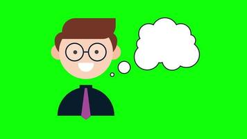 Animated cute boy with dialogue cloud. Clip in high resolution with green screen background. video