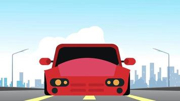 Driving car animation with front view, Running on highway. 2d animation. video