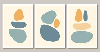 Contemporary abstract shapes boho posters. Modern background set bohemian aesthetic. Vector flat illustration. Design for wall art prints, card, cover.