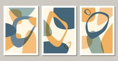 Set of contemporary abstract shapes boho posters. Modern background set bohemian aesthetic. Vector flat illustration. Design for wall art prints, card, cover.