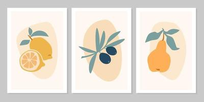 Hand drawn set abstract boho poster with tropical  fruit lemon, olive, pear isolated on beige background. Vector flat illustration. Design for pattern, logo, posters, invitation, greeting card