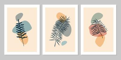 Hand drawn botanical wall art abstract set boho tropical leaf with color shape isolated on beige background. Vector flat illustration. Design for pattern, posters, invitation, greeting card