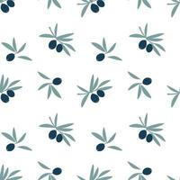 Seamless pattern of olive tree branches with green leaf and fruit olives isolated on white background. Vector flat illustration. Design for textile, wallpaper, wrapping, backdrop