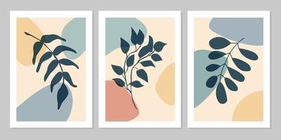 Hand drawn botanical wall art abstract set boho tropical leaf with color shape on beige background. Vector flat illustration. Floral  design for pattern, posters, invitation, greeting card