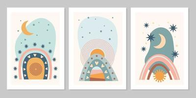Hand drawn set abstract boho poster with rainbow, sun, moon, star, shape isolated on beige background. Vector flat illustration. Design for pattern, logo, posters, invitation, greeting card