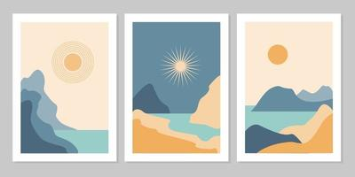 Set of aesthetic modern natural abstract landscape background with mountain, forest, sea, sky, sun and river. Minimalist boho poster cover template. Design for print, postcard, wallpaper, wall art. vector