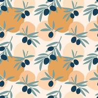 Seamless pattern of olive tree branches with green leaf and fruit olives isolated on colorful background. Vector flat illustration. Design for textile, wallpaper, wrapping, backdrop
