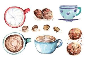 Coffee cup and cookie painted with watercolors. Latte art with heart shapes vector