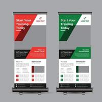 Fitness Roll Up Banner Template vector