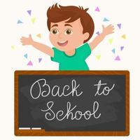 Boy go back to school, child of primary school vector