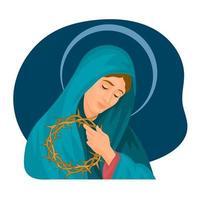 Virgin of Solitude catholic Good Friday vector