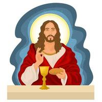 Jesus Christ at the last supper vector