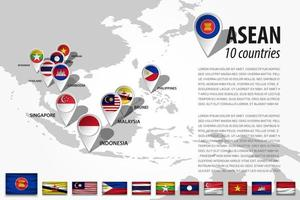 ASEAN  Association of Southeast Asian Nations  and GPS navigator location pin with country flag of membership on world map . Vector .