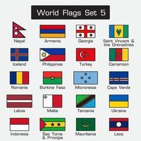 banderas del mundo. estilo simple y diseño plano. contorno grueso. vector