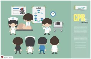 formación en rcp. El equipo médico está enseñando sobre reanimación cardiopulmonar en el hospital. vector