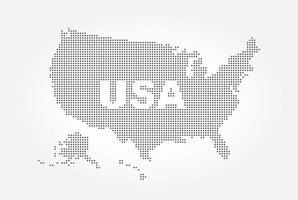 Dotted style map of USA and text. vector