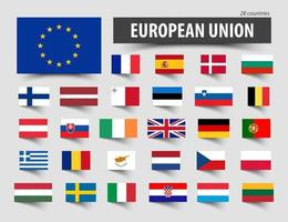 Flags of European Union and memberships. vector