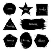 Set of Geometry shapes. Grunge style vector